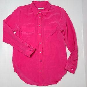 Equipment Femme Small Pink Silk Long Sleeve Top